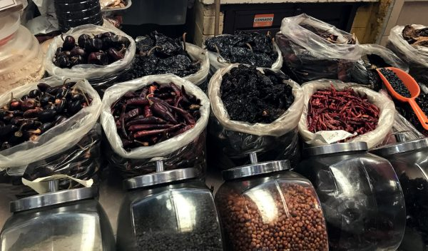 Chile stacks in the market, photo by Megan Frye