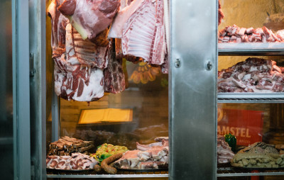 Remoutsiko's meat display, photo by Manteau Stam