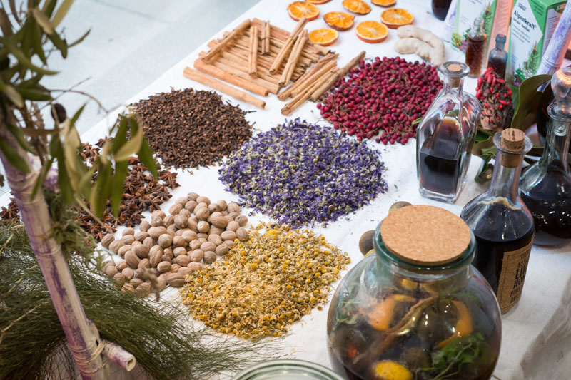 Some of the ingredients that go into making ratafia at the Ratafia Festival, photo by Sam Zucker