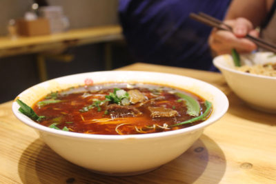 Spicy beef noodle soup at Pang Mei Mian Zhuang, photo by UnTour Shanghai