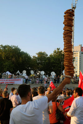 A simit seller at an anti-coup rally in Istanbul's Taksim Square. Photo by Paul Benjamin Osterlund