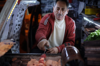 Süleyman Usta grilling kebab out of Yıldırım Usta's van, photo by Paul Benjamin Osterlund