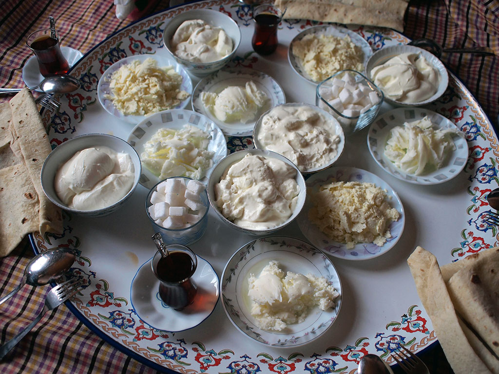 Veli Gürbüz's yogurt, butter, tulum and saç ekmeği, photo by Yigal Schleifer