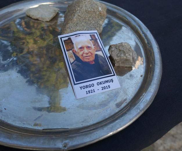 A tribute to Yorgo Okumuş at his funeral, photo by Ansel Mullins