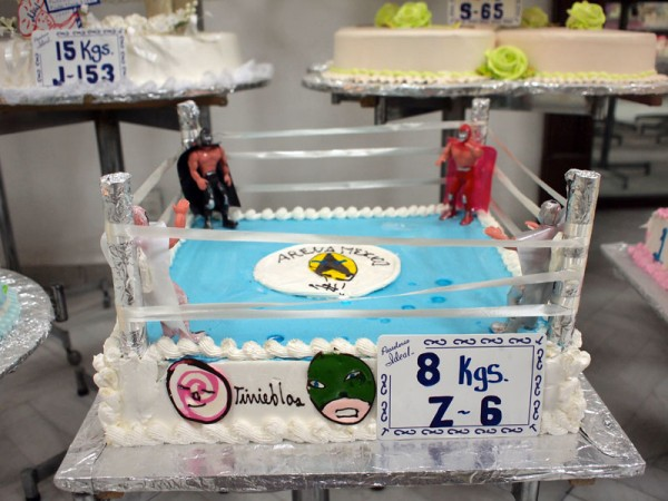 Lucha libre-themed birthday cake in Mexico City, photo by Yigal Schleifer