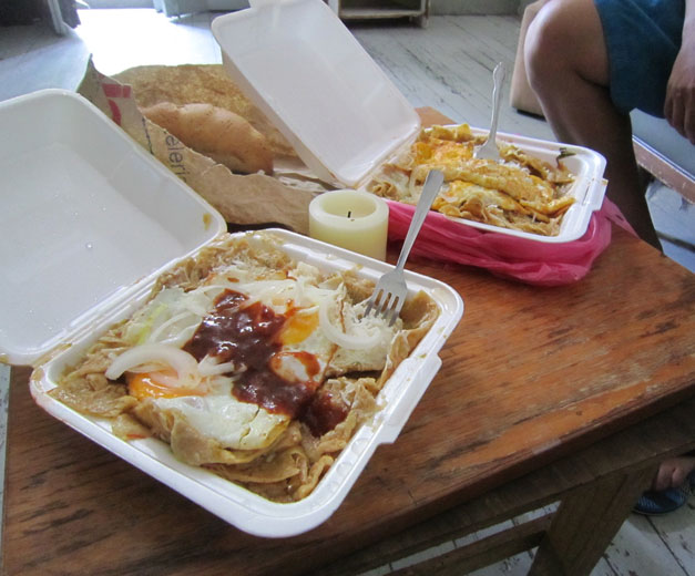 Takeout chilaquiles from La Joya, photo by James Young