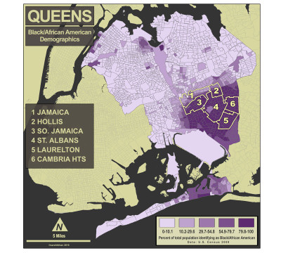 African-American demographics in Queens, map by Sarah Khan