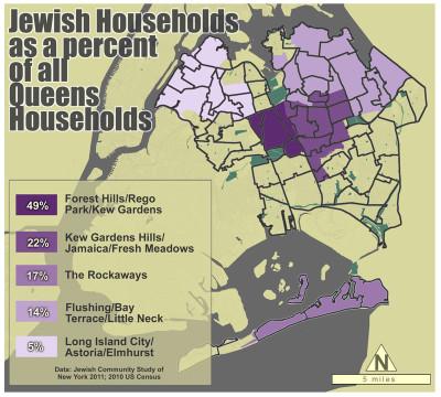 Queens' Jewish makeup, map by Sarah Khan