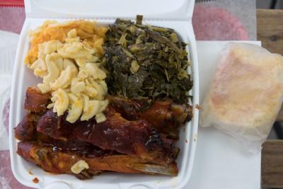 Barbecued ribs, collards and mac and cheese at The Rib Shack, photo by Sarah Khan