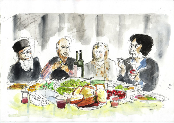 The Berdzenishvili family at their memorial picnic, illustration by Andrew North