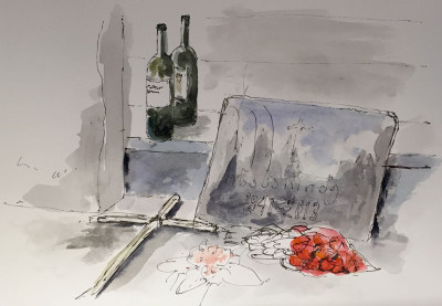 Dining next to Zviad Berdzenishvili's grave, illustration by Andrew North