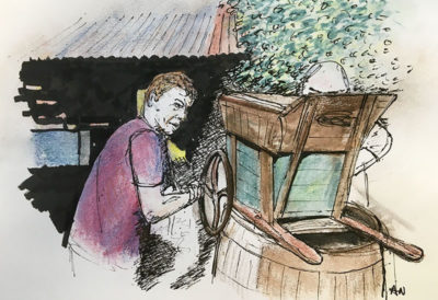 Temur at his wine press. Illustration by Andrew North
