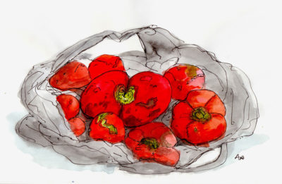 Tomatoes from Nona's Deserterebi stall, illustration by Andrew North
